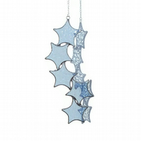 Aquamarine Blue Star Cascade Suncatcher, March Birthday Gift