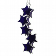 Cobalt Blue Stained Glass Star Suncatcher, Cobalt Blue Star Cascade