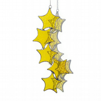 Yellow Stained Glass Suncatcher, Yellow Star Cascade Suncatcher