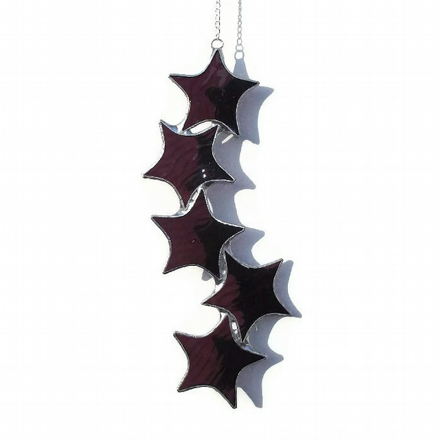 Stained Glass Star Suncatcher - Purple Star Cascade