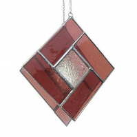Pink Stained Glass Suncatcher, Rose Zircon Suncatcher, October Birthday
