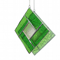 Green Stained Glass Suncatcher, August Peridot Birthstone Suncatcher