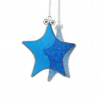 Sapphire Blue Stained Glass Star Suncatcher