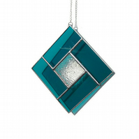 Aqua Stained Glass Suncatcher, Aqua Square Stained Glass Suncatcher