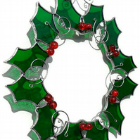 Christmas Decoration, Stained Glass Holly Christmas Decoration
