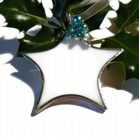 White Stained Glass Star Christmas Tree Decoration, Turquoise Beads