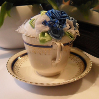 Tea Cup Pin Cushion, Blue Roses Tea Cup Pin Cushion, Pin Cushion In A Tea Cup