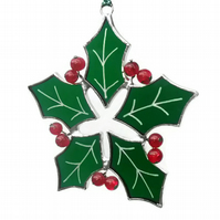 Stained Glass Holly Christmas Decoration, Stained Glass Holly Suncatcher
