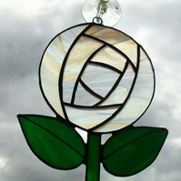 White Stained Glass Rose Suncatcher