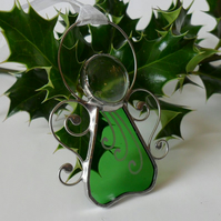 Green  Angel Christmas Tree Decoration, Green Stained Glass Angel