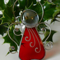 Red Angel Christmas Tree Decoration, Red Stained Glass Angel