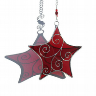 Stained Glass Star Suncatcher, Ruby Suncatcher, September Birthday