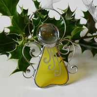 Stained Glass Angel Christmas Decoration, Yellow Stained Glass Angel