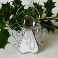 Stained Glass Angel Christmas Tree Decoration, White Stained Glass Angel