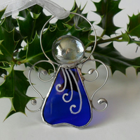 Stained Glass Christmas Tree Decoration, Cobalt Blue Stained Glass Angel