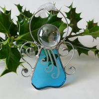 Turquoise Angel Christmas Tree Decoration, Sky Blue Stained Glass Angel