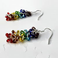 Chakra Earrings, Beaded Chakra Chain Maille Earrings, Chakra Chainmail Earrings