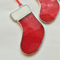 Stained Glass Christmas Stocking, Red Christmas Tree Decoration