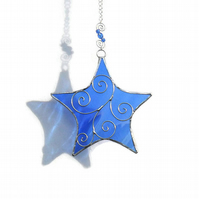 Stained Glass Star Suncatcher, Sapphire Blue Suncatcher, September Birthday