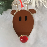 Rudolph Christmas Tree Decoration, Stained Glass Rudolph Christmas Decoration