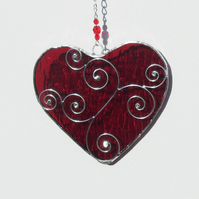 Red Stained Glass Heart Suncatcher, Valentines Gift