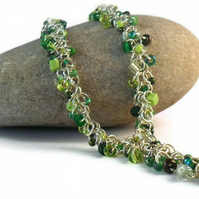 Green Glass Bead Chain Maille Necklace