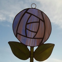 Purple Rose Suncatcher, Charles Rennie Mackintosh Style Rose Suncatcher