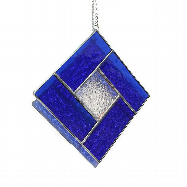 Blue Stained Glass Suncatcher, Sapphire Suncatcher, September Birthday
