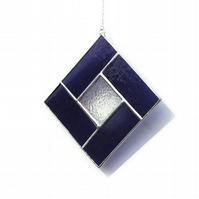 Purple Stained Glass Suncatcher, Purple Rippled Glass Geometric Suncatcher