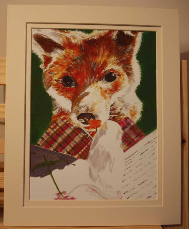 "Double mounted print - Fox- from an original painting. fits a frame- 10"" x 8"""