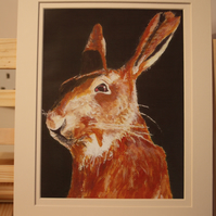 Larkley Hare double mounted print to fit frame 10 x 8