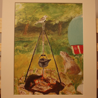 Hare by the campfire double mounted print to fit frame 10 x 8