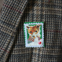 fox broach, printed onto cotton fabric and layered with felt
