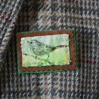 Bird broach printed on fabric from sketchbook