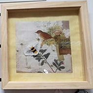 Hand made embroidered bee on bird print, box frame art