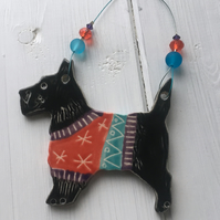 Black Scottie Dog decoration