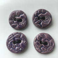 Purple set of ceramic buttons