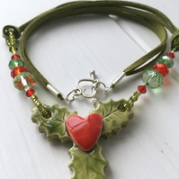 Ceramic Christmas holly necklace