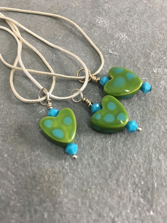 Green & turquoise heart necklace