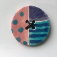 Large handmade ceramic button