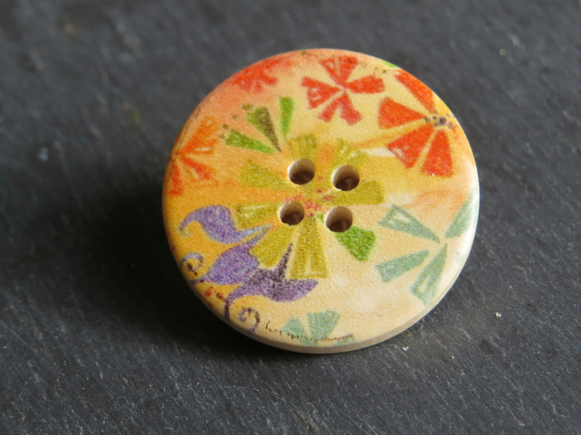 big wooden button brooch