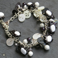 silver plated frog button and bead bracelet