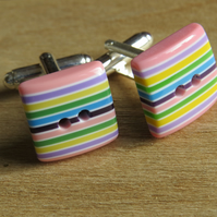 stripy button cufflinks