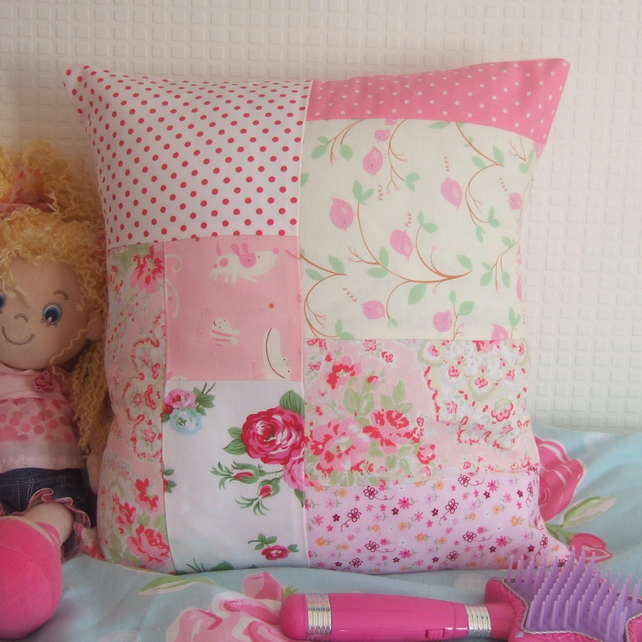 Patchwork Cushion  Pink and Floral Mix for Little Girl's Bedroom