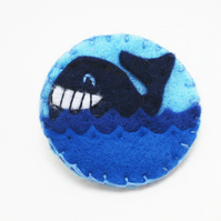 Happy Whale Felt Pin Badge