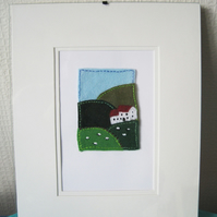 Felt and Embroidered ACEO - fields and sheep