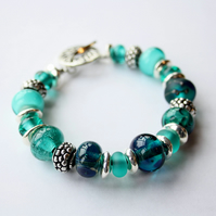 Lampwork Bracelet, Mermaid Tears