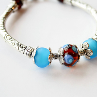 Raindrop, Handmade Lampwork Bangle