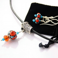 Harlequin, Lampwork Pendant and Earrings Set