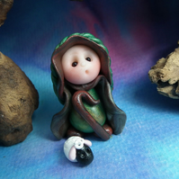 Tiny Gnome Shepherd with Lamb Sheep OOAK Sculpt by Ann Galvin Gnome Village